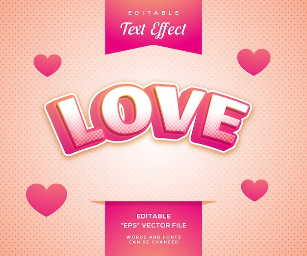 Liefde roze stijl teksteffect