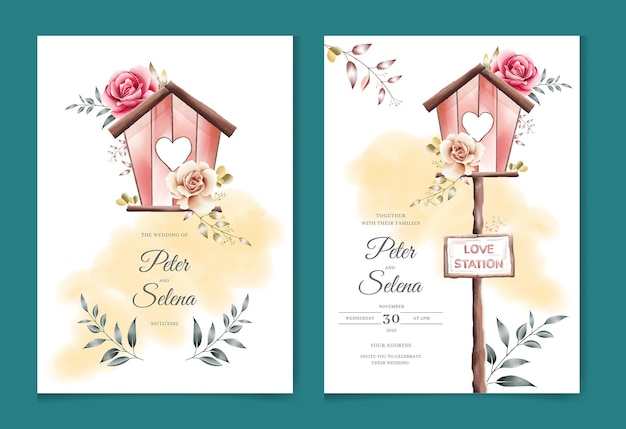 Liefde station mooie creatieve aquarel bruiloft uitnodiging set premium vector