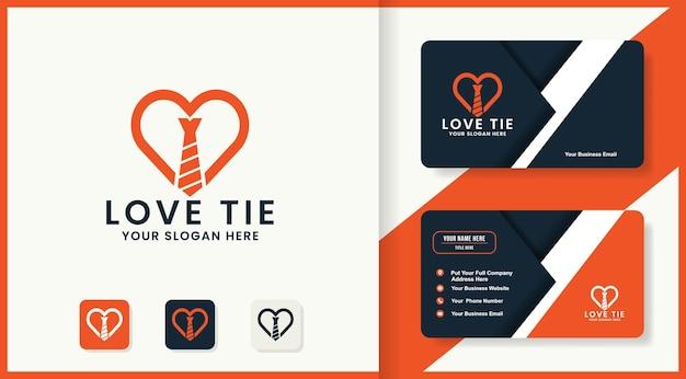 Liefde stropdas logo ontwerp en visitekaartje