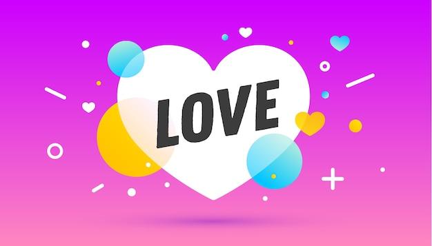 Liefde, tekstballon. spandoek, poster, tekstballon met tekst liefde. geometrische memphis-stijl met bericht liefde voor spandoek, poster. explosie burst-ontwerp, tekstballon.