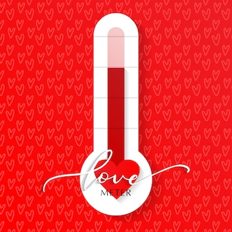Liefde thermometer valentijnsdag kaart element vectorillustratie met belettering en hart patroon