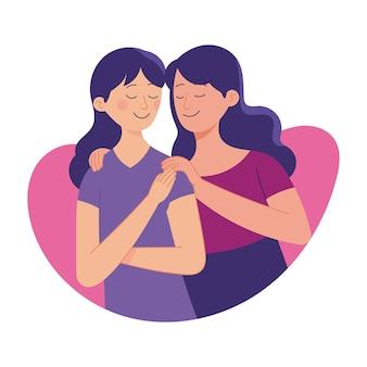 Liefde tussen zus, oudere zus hou van haar jongere zus, familie liefde band