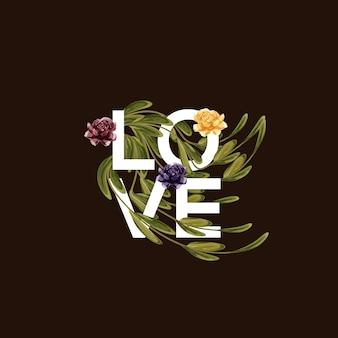 Liefde typografie met bloemen en bladeren