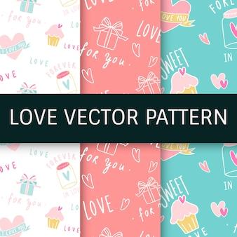 Liefde uitdrukkingen naadloze achtergrond vector set