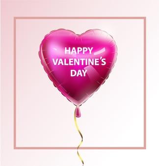Liefde uitnodigingskaart valentijnsdag ballon hart op abstracte achtergrond met tekst vector