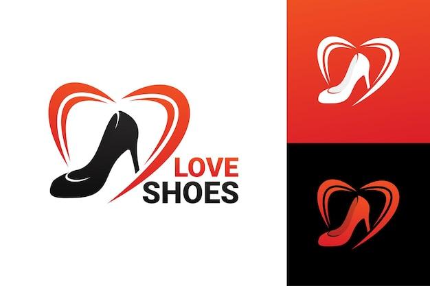Liefde vrouw schoenen logo sjabloon premium vector