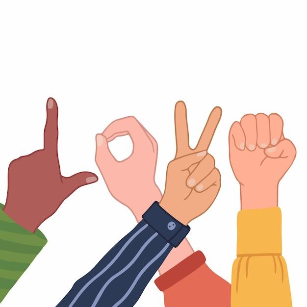 Liefde woord handen gebaar van mensen met verschillende huidskleur hand getekende liefde vectorillustratie