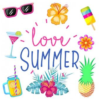 Liefde zomer kaart achtergrond