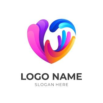 Liefde zorg icoon met kleurrijk design