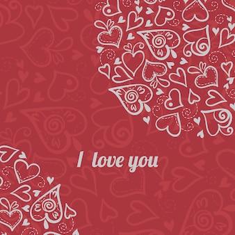 Liefdeachtergrond met abstracte harten. valentijnskaart