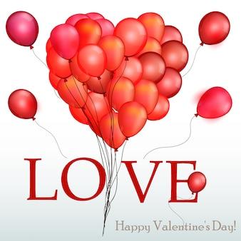 Liefdeachtergrond met rode ballonnen