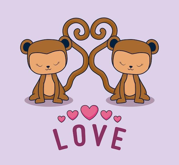 Liefdekaart met apen paar