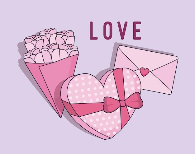 Liefdekaart met cadeau hartvorm