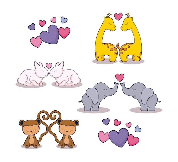 Liefdekaart set pictogrammen