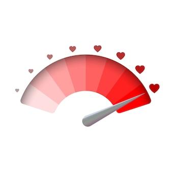 Liefdemeter, de achtergrond van de valentijnskaartendag. vectorillustratie