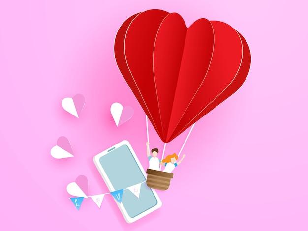 Liefdepaar die van mobiele telefoon verlaten door de ballon van de hartvorm met liefde, de illustratie van het de groetkaartconcept van de valentijnskaart