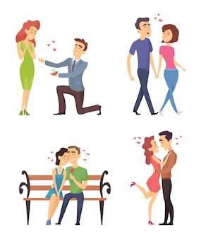 Liefdeparen die valentijnskaartendag vieren. grappige mooie karakters in vlakke stijl