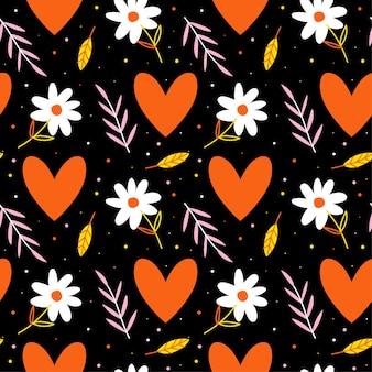 Liefdepatroon met hartjes en bloemen