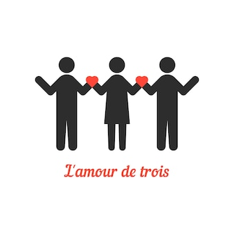 Liefdes trio met stokmensen. concept van relatie, heteroseksueel, rendez-vous, attitudes, bigamist. geïsoleerd op een witte achtergrond. vlakke stijl trend moderne logo ontwerp vectorillustratie