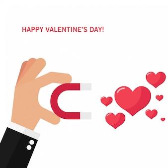 Liefdesattractie en valentijnsdagkaart