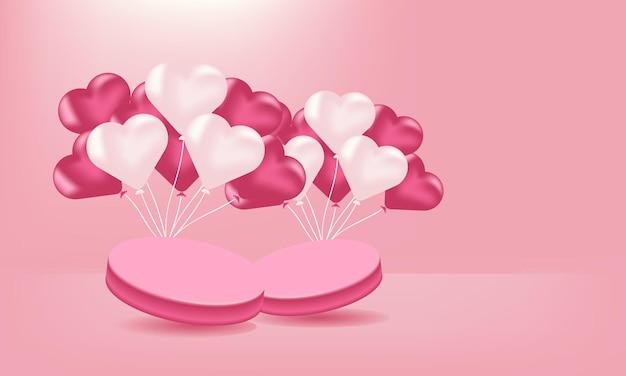 Liefdesballon op roze achtergrond