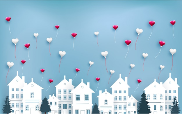 Liefdesballonnen vliegen over de stad