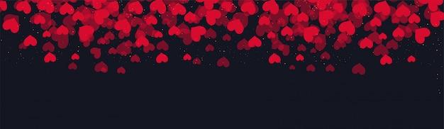 Liefdesbanner met rode harten wordt verfraaid dat.