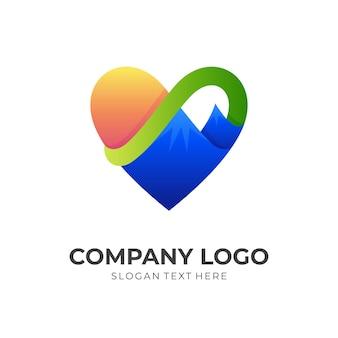 Liefdesberglogo, liefde en berg, combinatielogo met 3d-kleurrijke stijl