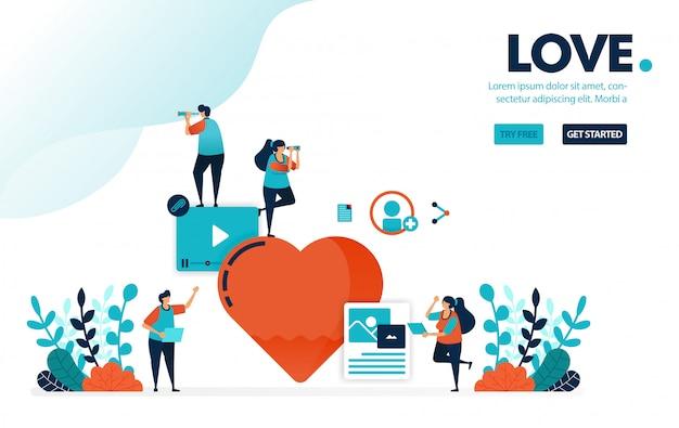 Liefdesbord, mensen houden van en houden van creatieve sociale media-inhoud,