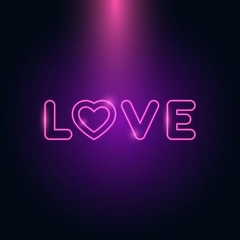 Liefdesbrief hart neon gloei in het donker
