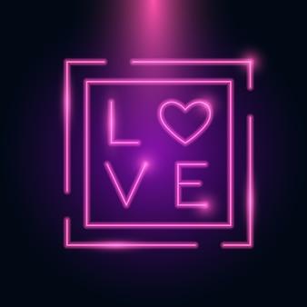 Liefdesbrief hart neonframe gloed in het donker