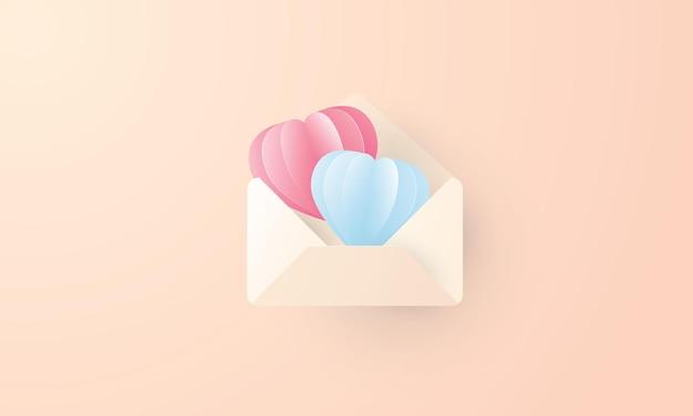 Liefdesbrief met twee harten, open de envelop op valentijnsdag, valentijnsdag