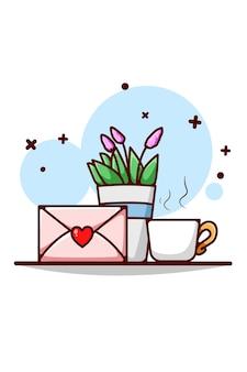 Liefdesbrief, sierplant en thee cartoon afbeelding
