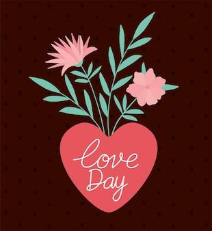 Liefdesdag belettering en bundel rozen met hart