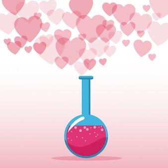 Liefdesdrank valentines dag harten achtergrond