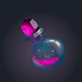 Liefdesdrankje in een glazen fles