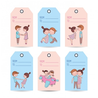 Liefdesetiketten met koppels