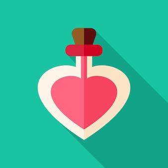 Liefdesgiffles met hartvorm. plat gestileerd object met lange schaduw