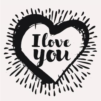 Liefdeskaarten sjabloon handgetekende letters in inktpatronen kalligrafische zin voor uw ontwerp ik hou van ...