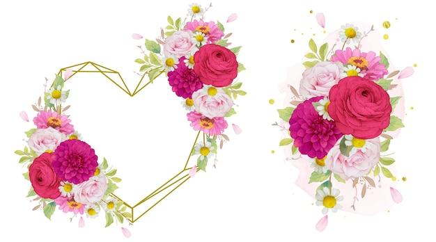 Liefdeskrans en boeket donkerroze bloemen