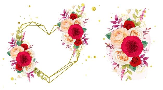 Liefdeskrans en boeket rode rozen bloemen