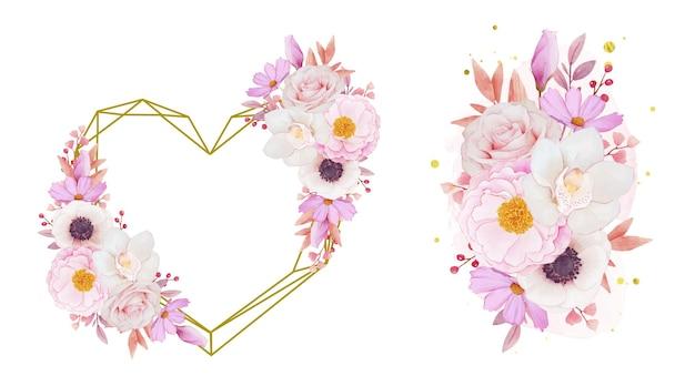 Liefdeskrans en boeket roze rozen orchidee en anemoonbloemen