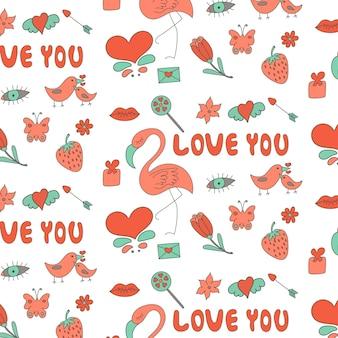 Liefdespatroon van valentijnsdag elementen roze turkoois rood grijs