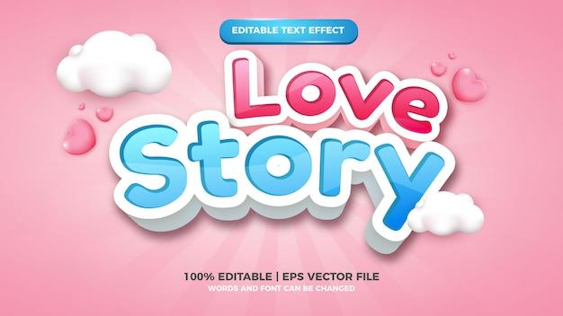Liefdesverhaal bewerkbaar teksteffect 3d-striptekenstijl