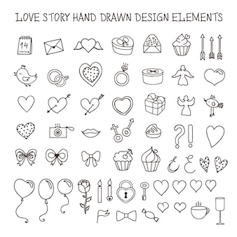 Liefdesverhaal hand getrokken ontwerpelementen doodle set. vector vintage illustratie.