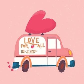 Liefdesvrachtwagenvoertuig met een hart en een liefdesboodschap. kleurrijke hand getekend illustratie met hand belettering voor happy valentines day. wenskaart.