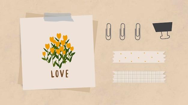 Liefdeswoordbericht en bloemen op briefpapier met paperclips, bindclip en washi-tape op lichtbruin gestructureerd papier als achtergrondvector
