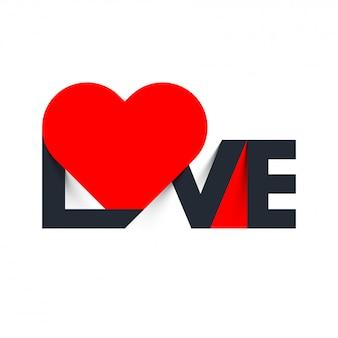 Liefdetekst met rode hartvorm.