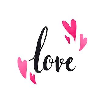 Liefdetypografie met hartenvector wordt verfraaid die