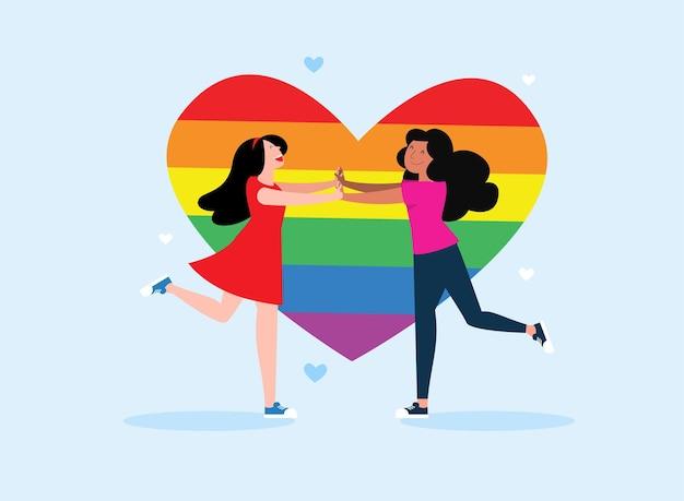 Liefdevol lesbisch koppel dat naar elkaar toe rent
